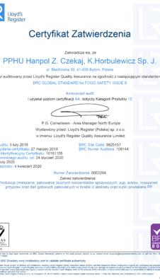 Certyfikat zatwierdzenia BRC 8