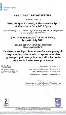Certyfikat zatwierdzenia BRC