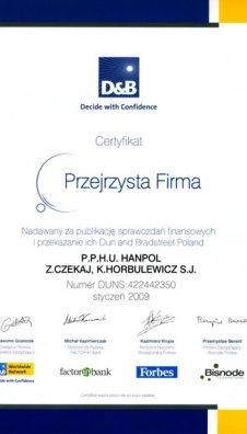 Certyfikat Przejrzysta Firma nadany przez Decide with Confidence